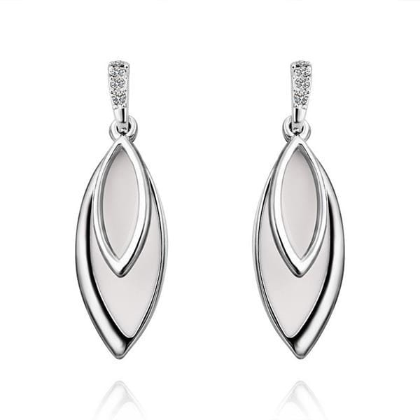 Vienna Jewelry 18K White Gold Ivory Covering Drop Down Earrings Made with Swarovksi Elements