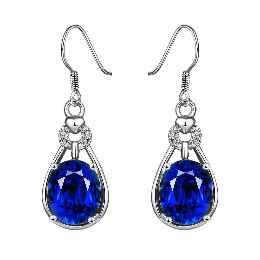 White Gold Plated Vertical Drop Down Earrings with Saphire Gem