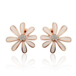 Vienna Jewelry 18K Rose Gold Floral Petal Studs with Ivory Covering Made with Swarovksi Elements - Thumbnail 0