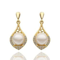 Vienna Jewelry 18K Gold Drop Down Earrings with Laser Cut Emblem Made with Swarovksi Elements