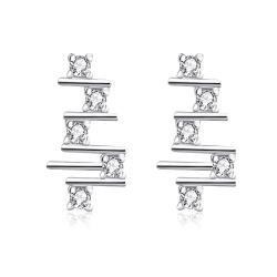 Vienna Jewelry White Gold Plated Abstract Horizontal Lines Drops - Thumbnail 0