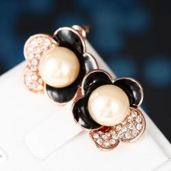 Vienna Jewelry 18K Rose Gold Floral Petal Stud Earrings with Onyx Covering Made with Swarovksi Elements - Thumbnail 0