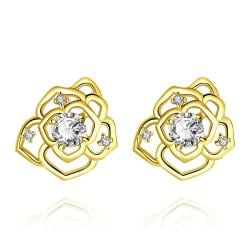 Vienna Jewelry Gold Plated Laser Cut Floral Petals Stud Earrings - Thumbnail 0