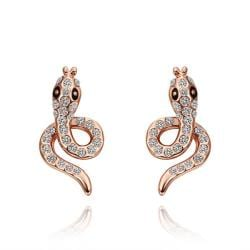 Vienna Jewelry 18K Rose Gold Spiral Cobra Shaped Stud Earrings Made with Swarovksi Elements - Thumbnail 0