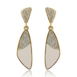 Vienna Jewelry 18K Gold Classic Ivory Drop Down Earrings Made with Swarovksi Elements - Thumbnail 0