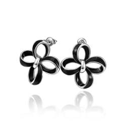 Vienna Jewelry 18K White Gold Hollow Floral Petals Stud Earrings Made with Swarovksi Elements - Thumbnail 0