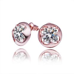 Vienna Jewelry 18K Rose Gold Stud Earrings with Jewel Made with Swarovksi Elements - Thumbnail 0