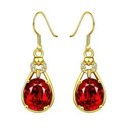Gold Plated Vertical Drop Down Earrings with Ruby Gem - Thumbnail 0