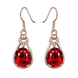 Rose Gold Plated Vertical Drop Down Earrings with Ruby Gem - Thumbnail 0