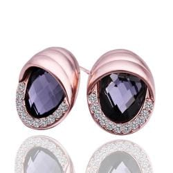 Vienna Jewelry 18K Rose Gold Stud Earrings with Onyx Jewel Made with Swarovksi Elements - Thumbnail 0