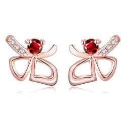 Vienna Jewelry Rose Gold Plated Double Hearts Ruby Gem Studs - Thumbnail 0