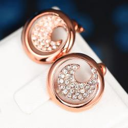 Vienna Jewelry 18K Rose Gold Swirl Stud Earrings Covered with Jewels Made with Swarovksi Elements - Thumbnail 0