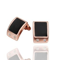 Vienna Jewelry 18 Rose Gold Onyx Center Stud Earrings Made with Swarovksi Elements - Thumbnail 0