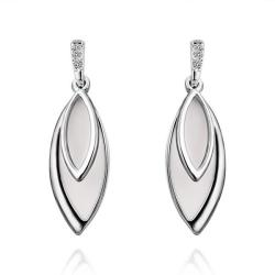 Vienna Jewelry 18K White Gold Ivory Covering Drop Down Earrings Made with Swarovksi Elements - Thumbnail 0