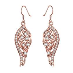 Rose Gold Plated Drop Down Phoneix Emblem Drop Earrings