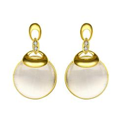 Vienna Jewelry 18K Gold Drop Down Earrings with Pearl Drop Made with Swarovksi Elements - Thumbnail 0
