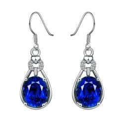White Gold Plated Vertical Drop Down Earrings with Saphire Gem - Thumbnail 0
