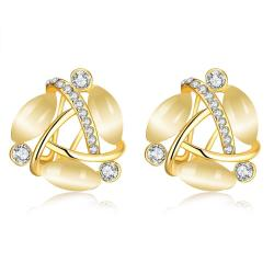 Vienna Jewelry 18K Gold Fifth Ave Design Stud Earrings Made with Swarovksi Elements