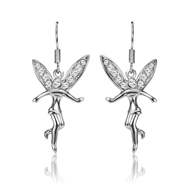 Vienna Jewelry 18K White Gold Flying Angels Dangling Earrings Made with Swarovksi Elements