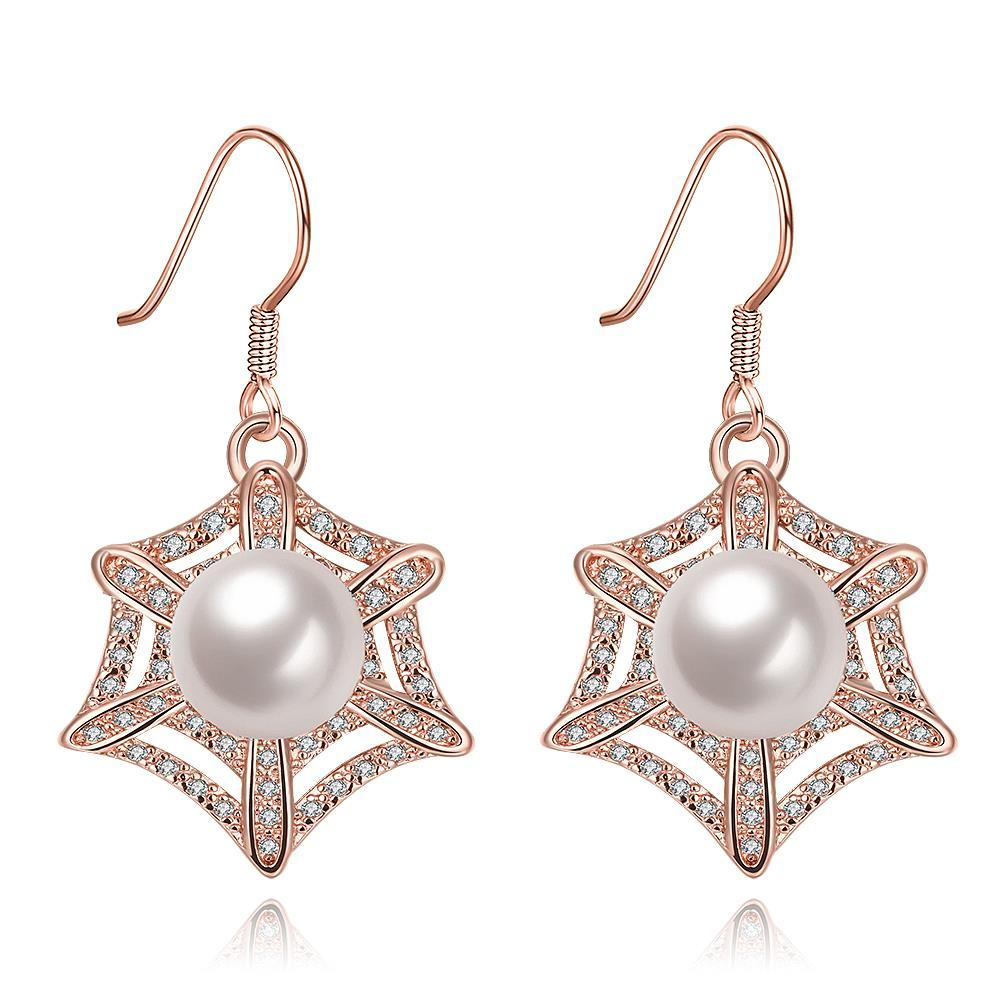 Vienna Jewelry Rose Gold Plated Spider Web Design with Pearl Insert Drop Down Earrings