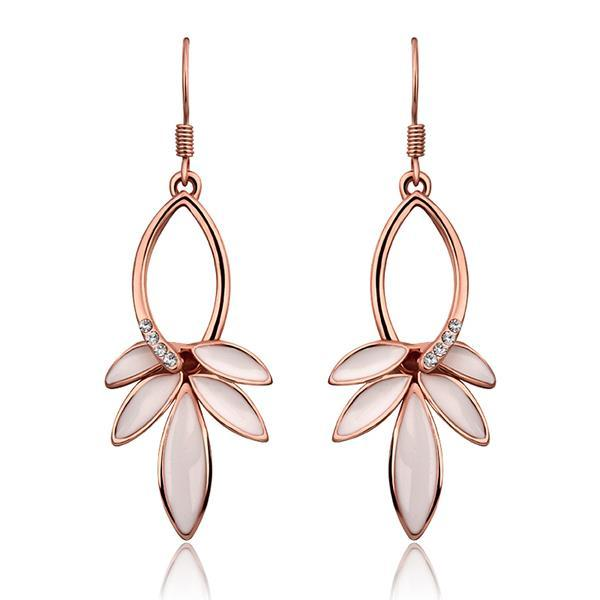 Vienna Jewelry 18K Rose Gold Ivory Petals Drop Earrings Made with Swarovksi Elements