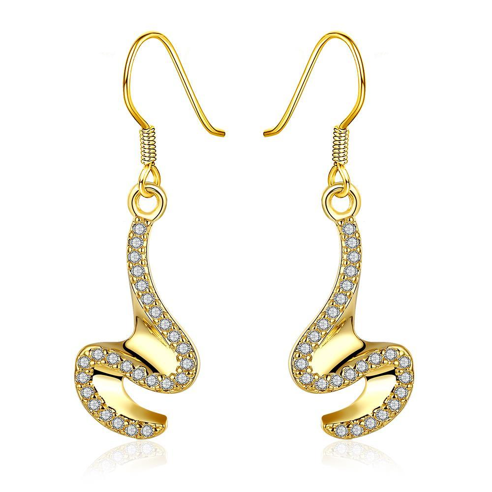 Gold Plated Abstract Intertwined Curved Drop Earrings