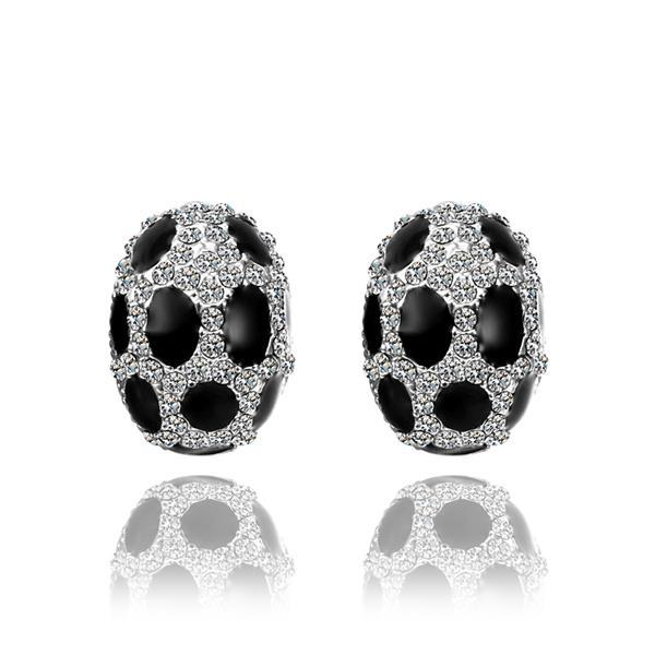 Vienna Jewelry 18K White Gold Oval Stud Earrings with Onyx Gems Made with Swarovksi Elements