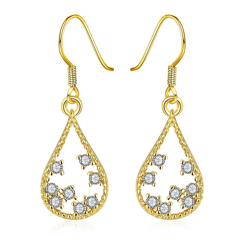 Vienna Jewelry Gold Plated Modern Filligree Drop Down Earrings
