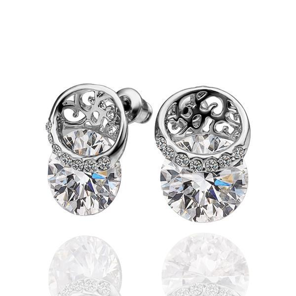 Vienna Jewelry 18K White Gold Stud Earrings Covered with Crystal Jewels Made with Swarovksi Elements