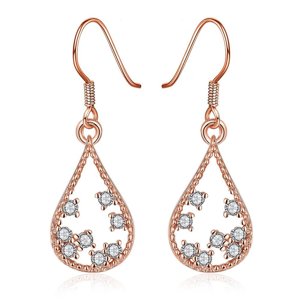 Vienna Jewelry Rose Gold Plated Modern Filligree Drop Down Earrings