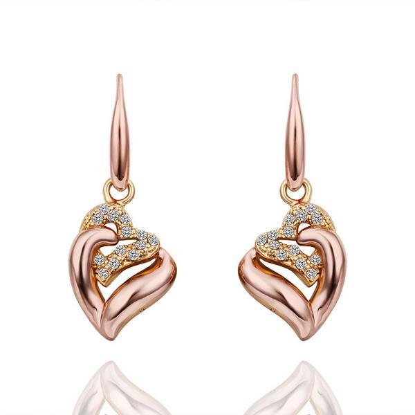 Vienna Jewelry Drop Down Rose Gold Classic Earrings Made with Swarovksi Elements