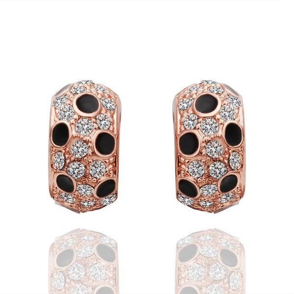 Vienna Jewelry 18K Rose Gold Covered with Onyx Jewels Earrings Made with Swarovksi Elements