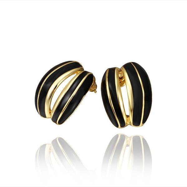 Vienna Jewelry 18K Gold Onyx Inline Stud Earrings Made with Swarovksi Elements