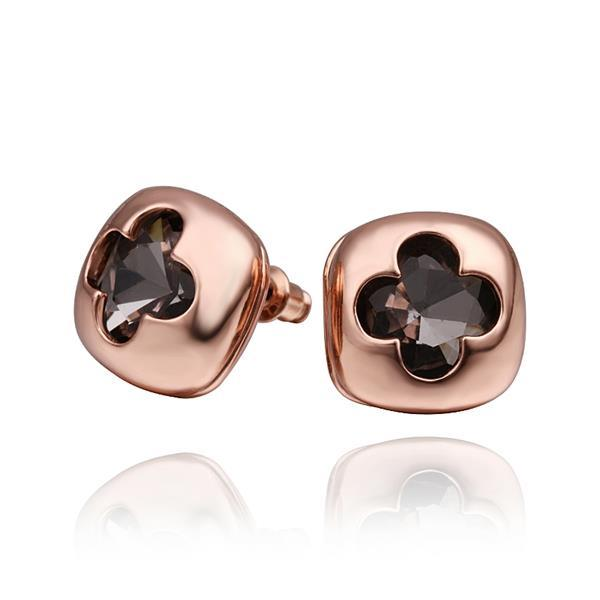 Vienna Jewelry 18K Rose Gold Stud Earrings with Hollow Clover Shape Made with Swarovksi Elements