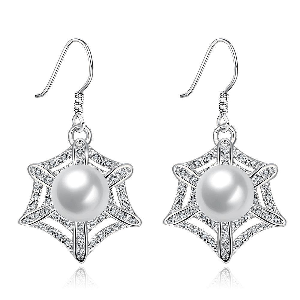Vienna Jewelry White Gold Plated Spider Web Design with Pearl Insert Drop Down Earrings