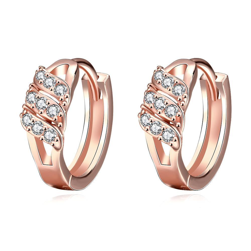 Vienna Jewelry Rose Gold Plated Trio Jewel Lines Hoops