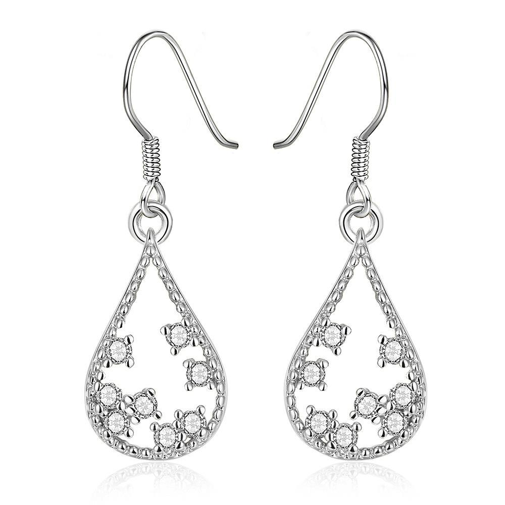 Vienna Jewelry White Gold Plated Modern Filligree Drop Down Earrings