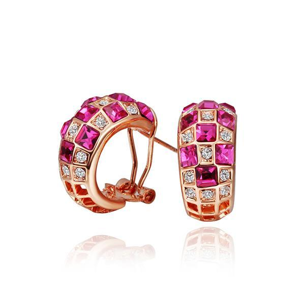 Vienna Jewelry 18K Rose Gold Ruby Crystals 1/2 Hoop Earrings Made with Swarovksi Elements