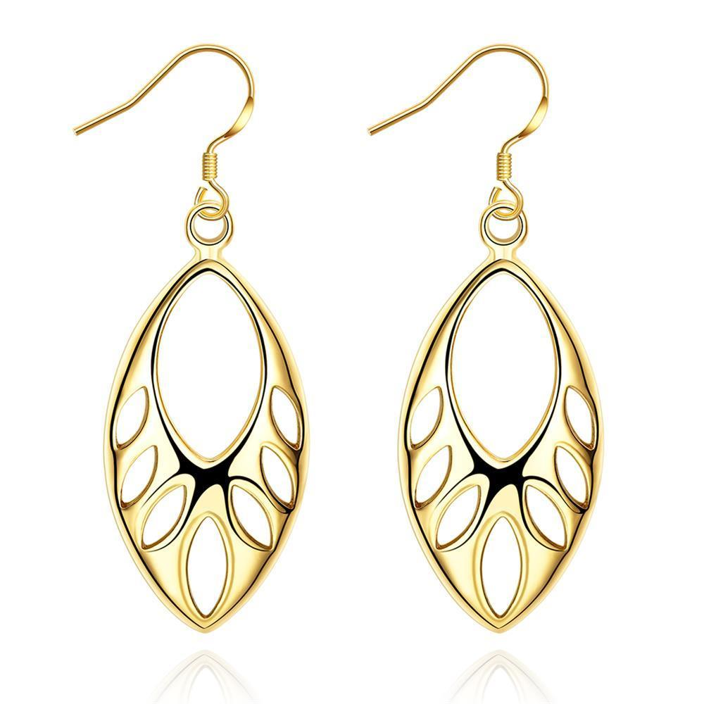 Vienna Jewelry Gold Plated Laser Cut Hollow Drop Down Earrings