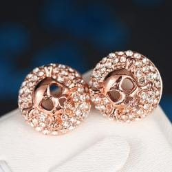 Vienna Jewelry 18K Rose Gold Skull & Bones Stud Earrings Made with Swarovksi Elements - Thumbnail 0