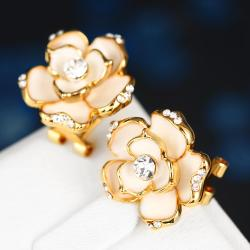 Vienna Jewelry 18K Gold Floral Ivory Stud Earrings Made with Swarovksi Elements - Thumbnail 0