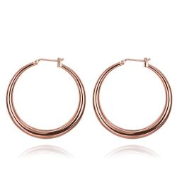 Vienna Jewelry Rose Gold Plated Skinny Tube Hoop Earrings - Thumbnail 0
