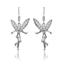 Vienna Jewelry 18K White Gold Flying Angels Dangling Earrings Made with Swarovksi Elements - Thumbnail 0