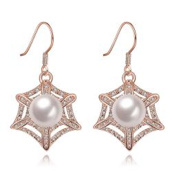 Vienna Jewelry Rose Gold Plated Spider Web Design with Pearl Insert Drop Down Earrings - Thumbnail 0