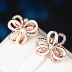 Vienna Jewelry 18K White Gold Triple Layered Rose Petals Stud Earrings Made with Swarovksi Elements - Thumbnail 0