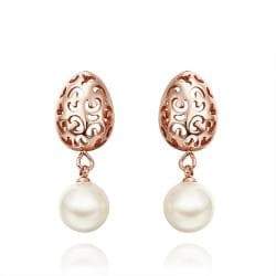 Vienna Jewelry 18K Rose Gold Laser Cut Sphere Drop Down Earrings Made with Swarovksi Elements