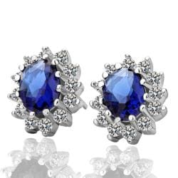 Vienna Jewelry 18K White Gold Earrings with Saphire Gem Made with Swarovksi Elements