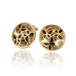 Vienna Jewelry 18K Gold Laser Cut Stud Earrings Made with Swarovksi Elements - Thumbnail 0