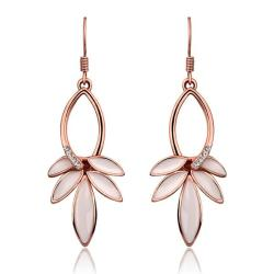 Vienna Jewelry 18K Rose Gold Ivory Petals Drop Earrings Made with Swarovksi Elements - Thumbnail 0