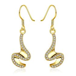 Gold Plated Abstract Intertwined Curved Drop Earrings - Thumbnail 0